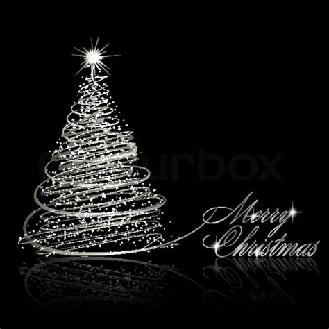 silver christmas tree on black background vector eps10