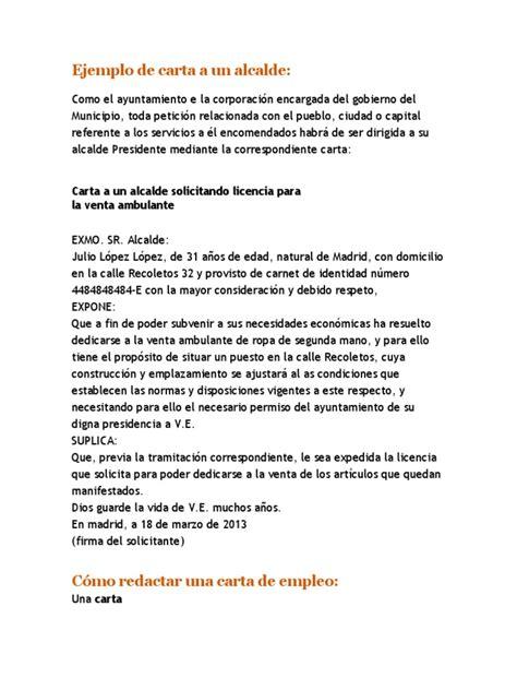 Carta Formal Varias Personas Ejemplo De Carta A Un Alcalde