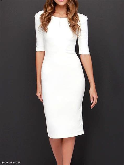 boat neck plain blend bodycon dress fashionmia - Boat Neck Bodycon Dress