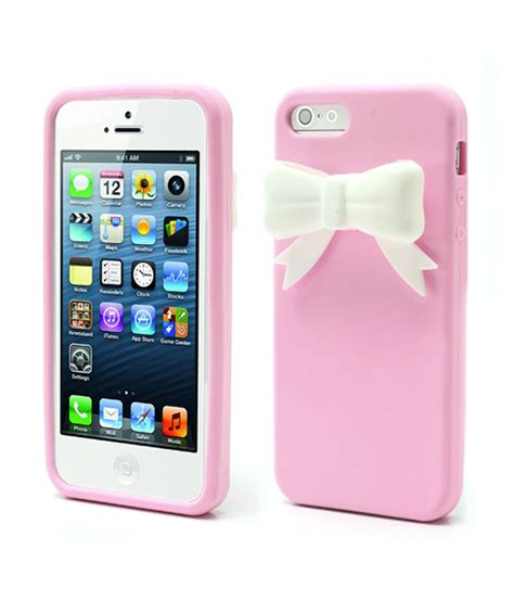xs 3d bowknot soft silicone cover skin for iphone 5 5slightpink buy xs 3d bowknot soft
