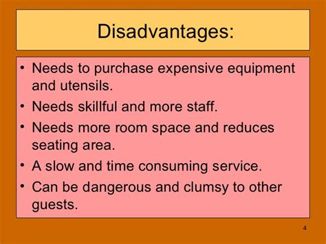 Advantages And Disadvantages Of Desking by Gueridon Service