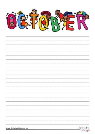 october writing paper months of the year