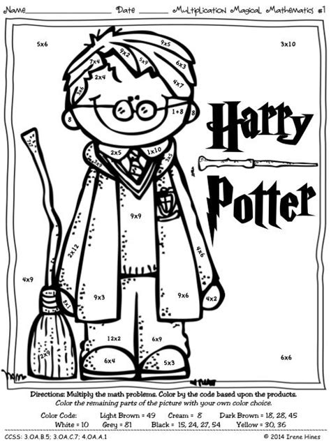harry potter coloring pages color by number multiplication magical mathematics color by the code