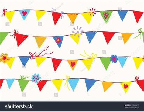 Banner Flag Hello Bunting Flag Motif Hello 1 bunting flags seamless pattern design stock vector 153316637