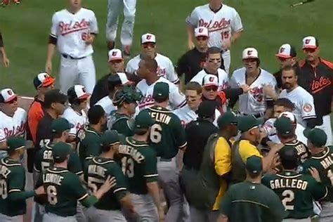 bench clearing brawl benches clear after orioles manny machado throws his bat at oakland a s third baseman
