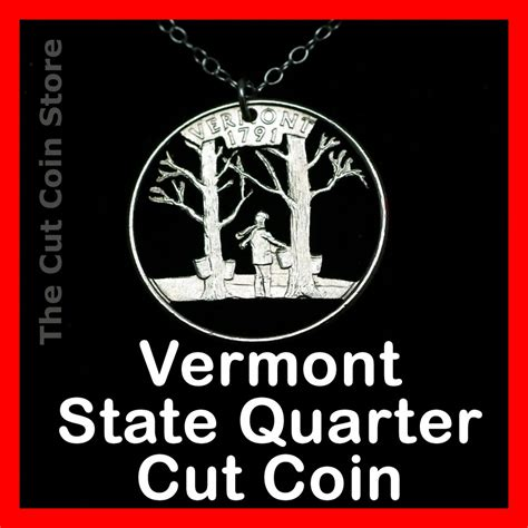 vermont maple syrup 25 162 vt quarter hand cut out coin charm