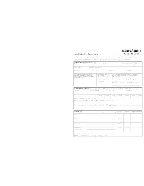 free printable barnes noble application form