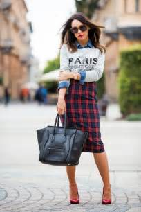 Style Ideas by Tartan Pencil Skirt Street Style The Lifestyle Department