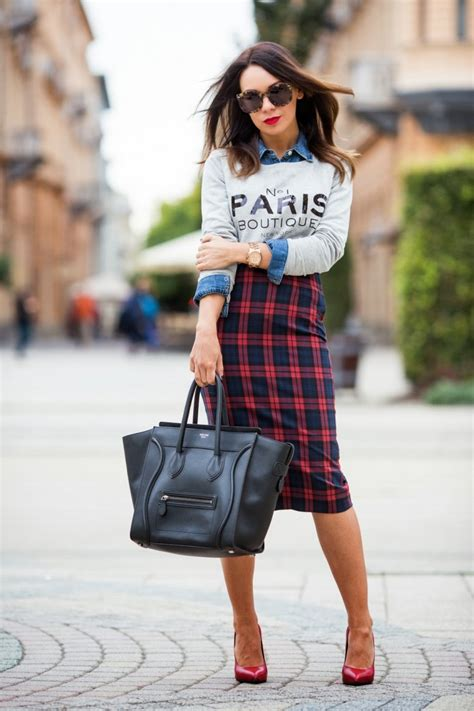 tartan pencil skirt style the lifestyle department