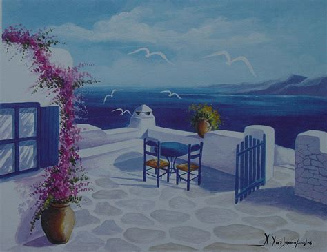the greek house greek house by the sea painting by hatzistamoulis