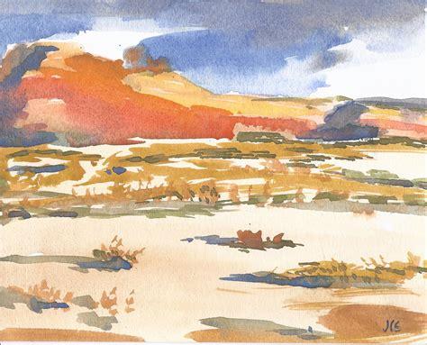 Landscape Paintings Utah Watercolor Landscape Utah Painting 8x10 Warm Sky By