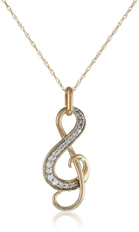 yellow gold diamond  note pendant necklace