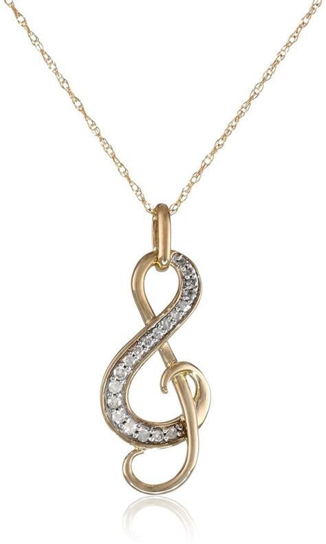 yellow gold diamond  note pendant necklace
