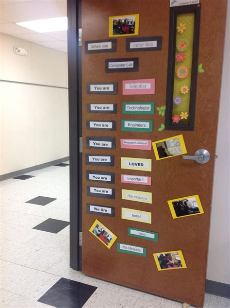 Computer Decorations by Computer Lab Door Encouraging Stem Careers Using