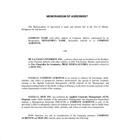 template for memorandum of understanding in business 13 memorandum of agreement templates pdf doc free