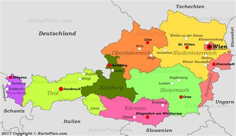 map of with cities political map of austria with cities