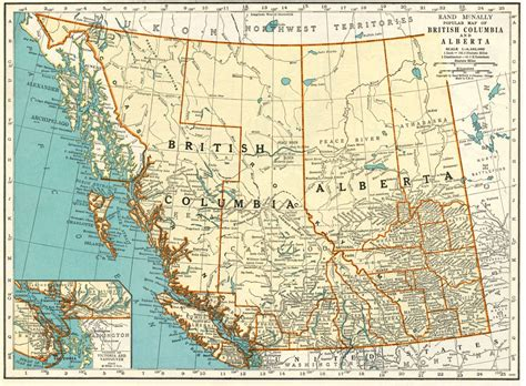 map of bc and alberta canada 1937 vintage map of alberta and columbia canada