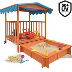 sandkasten veranda sandkasten mit sitzb 228 nken dach spielhaus 140x140 holz