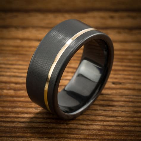 Wedding Ring Black Zirconium by S Wedding Band Comfort Fit Interior Black Zirconium