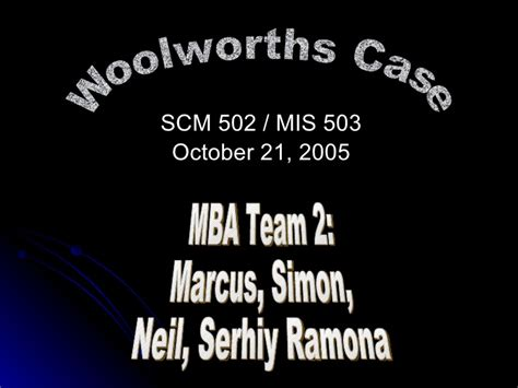 Mba 502 Survey Of Mgmt And Mis by Woolworths Mba Team 2