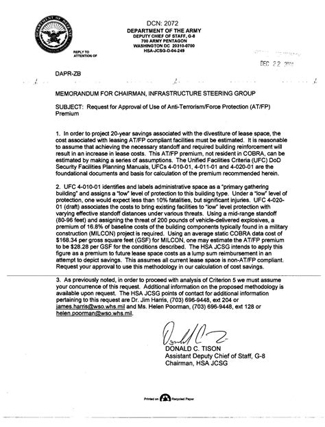 Memo Sle Request For Approval Memo Concerning Request For Approval Of Use Of Anti Terrorism Protection At Fp Premium