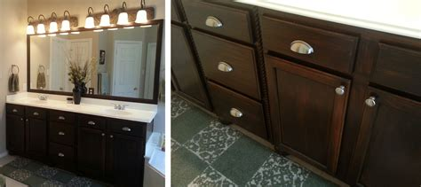 Bathroom cabinet in antique walnut gel stain general finishes design center