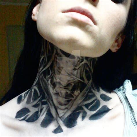 Evil Tattoo On Neck | old work zombie boy neck tattoo by evil radiator on