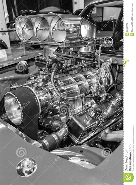 American Muscle Car's Engine Stock Photo - Image of