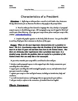 Characteristics Of A Essay by Characteristics Of A President 5 Paragraph Essay Prompt Graphic Organizer