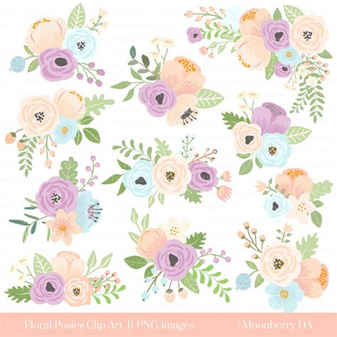 Flower Posies Weddings by Flower Clipart Floral Posies Clipart Wedding