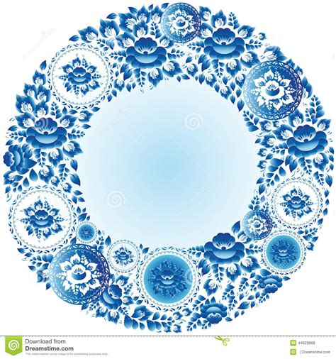 round floral designs round blue floral frame for your design vector stock