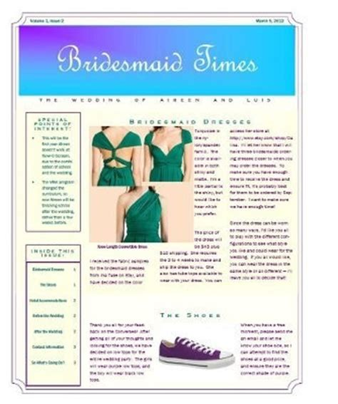 Bridesmaid Newsletter Template by Bridesmaid Newsletter Weddings Do It Yourself Wedding