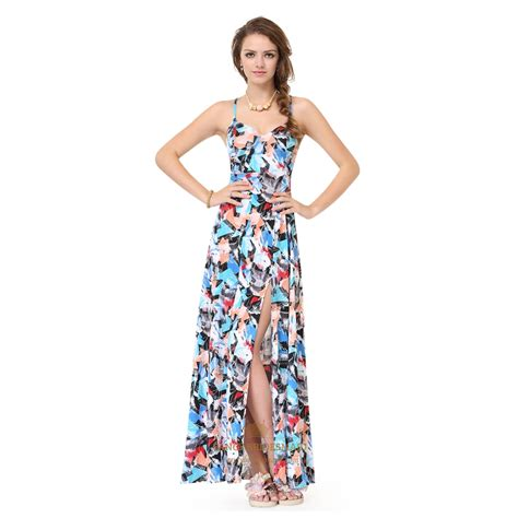 colorful summer dresses colorful spaghetti side split summer dress with