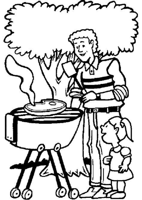 Coloriage Ce Papa Fait Du barbecue avec sa Fille