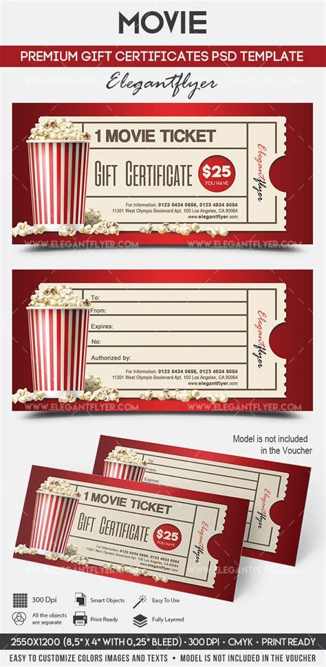 printable movie gift certificates movie gift certificate psd printable by elegantflyer