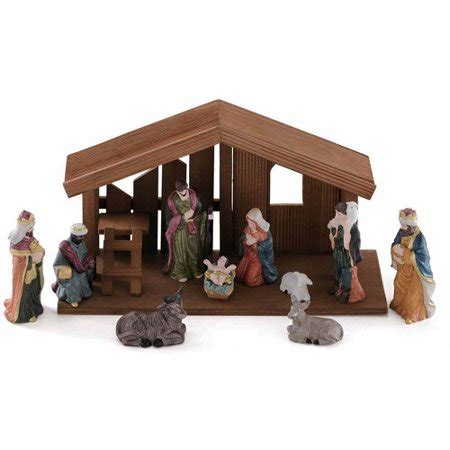 christmas stable walmart time wood nativity 12 set walmart