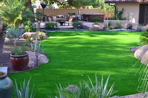 Landscape Design With Artificial Grass Synthetic Turf Lawn Tropical Landscape By