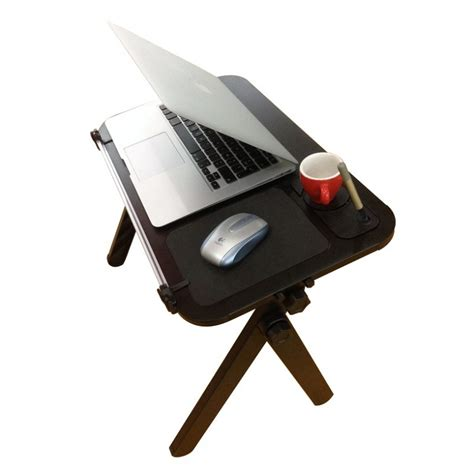 aluminum laptop table with mouse pad cup and pen holder