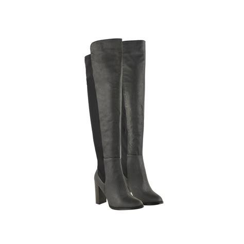black faux leather the knee block high heel wide leg