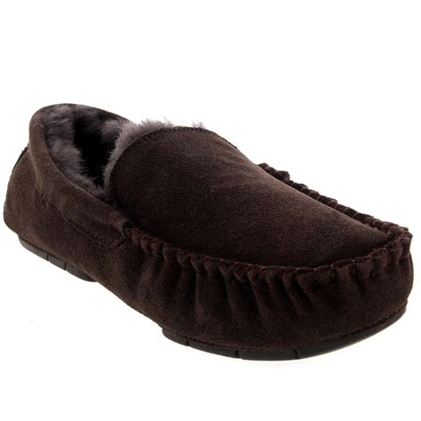slippers with fur inside mens real suede australian fur sheepskin moccasins fur