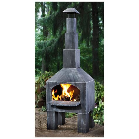 chiminea indoor fireplace castlecreek outdoor cooking steel chiminea 232289
