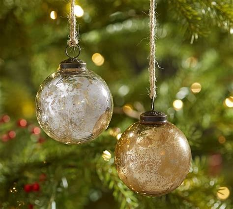 silver gold mercury glass ball ornaments set of 6
