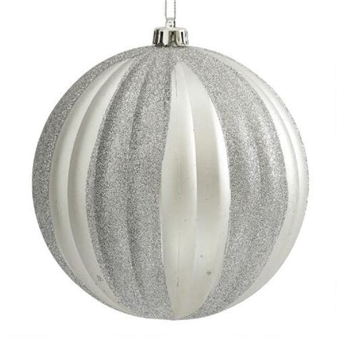 large silver ribbed shatterproof ornament christmas tree
