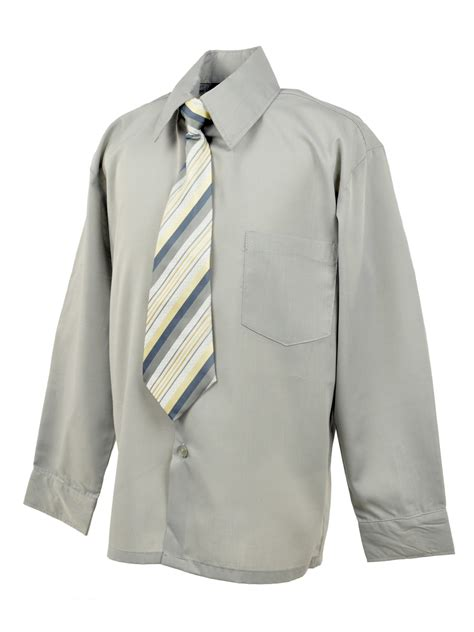 notion boys dress shirt and tie set silver grey