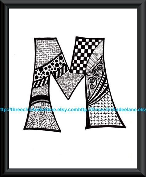 printable zentangle alphabet letter quot m quot zentangle 8 x 10 art print on high quality