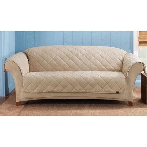 covered sofas sure fit 174 reversible suede sherpa sofa pet cover