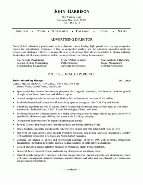 advertising resume exles sle resumes advertising director resume or sales resume