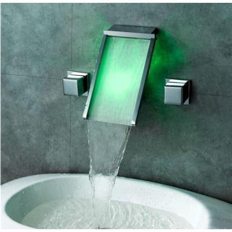 glass waterfall bathroom sink faucet waterfall wall mount bathroom sink faucet with led glass