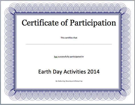 certificate template on word certificate of participation search results calendar 2015