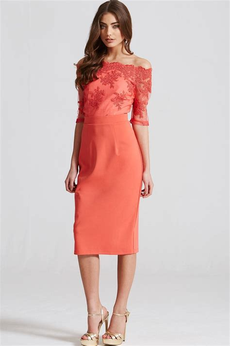 coral lace bardot midi dress from uk